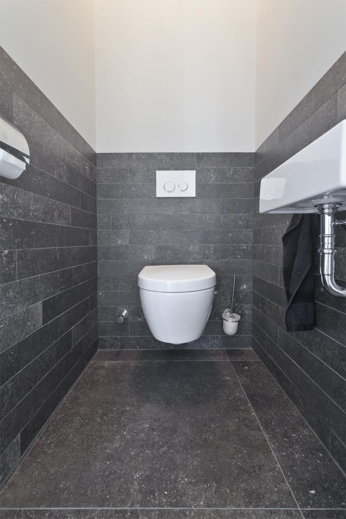 Badkamer grijze tegels tegelstroken goedkope strooktegels natuursteenstrips steenstrips - Faience voor wc ...
